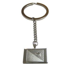 Etched Papua New Guinea Flag Pendant Keychain